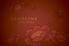牡丹 花开富贵矢量背景图片