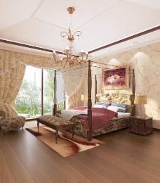 欧式卧室3d效果图图片