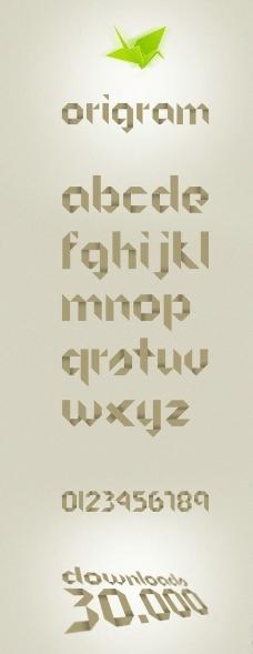 折纸风格英文字体