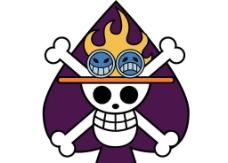 艾斯黑桃海贼团海贼旗矢量标志图片