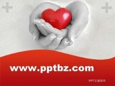 医学ppt模板-奉献红色爱心