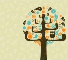 矢量创意个性树木背景素材