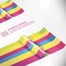 多彩纸条褶皱背景矢量素材