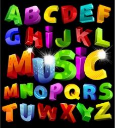 五颜六色立体英文字母