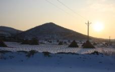 冬季农村黄昏图片