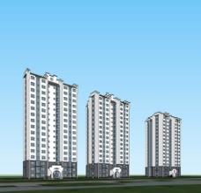 江南风格 高层住宅 模型图片