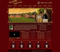 红酒类红色风格网站图片