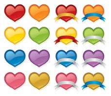 彩色水晶桃心图标
