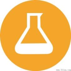 橙色背景化学瓶图标