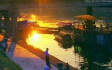程江黄昏 夕阳晚钓图片