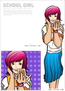 照镜子的女学生