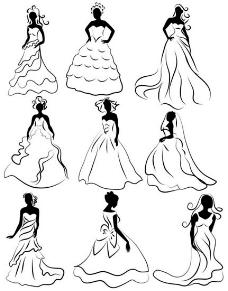 线稿婚纱新娘