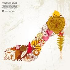 矢量彩绘花朵鞋子图片