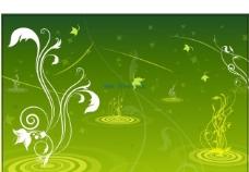 绿色背景花纹ai
