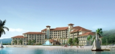 某皇岛酒店湖边透视MAX无MA图片