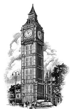 手绘欧洲建筑图片