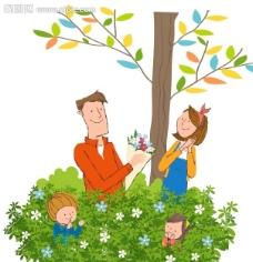 海边幸福的一家人图片,卡通人物 卡通家庭 卡通风景