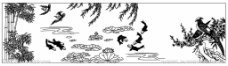 花鸟鱼竹线描图图片