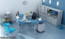 冷色调办公室3D模型