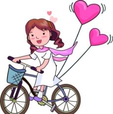 骑自行车的女孩图片