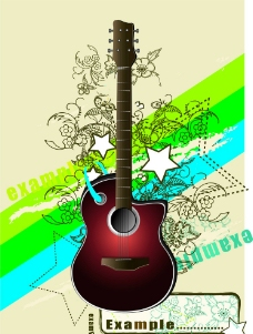 吉他绘画设计图片