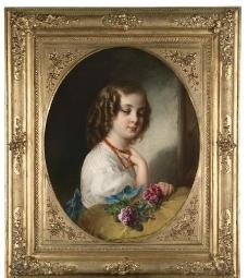 小姑娘与鲜花图片
