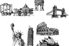 欧美建筑素描稿图片