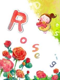 小孩和玫瑰图片