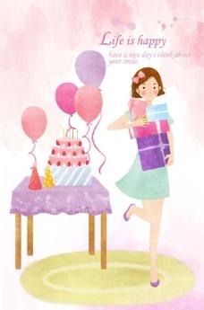 美女庆祝生日图片
