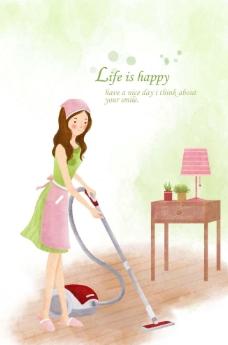 美女做家务图片