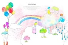 白云彩虹图片