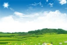 山坡草地美景图片
