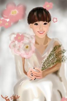美女插画图片