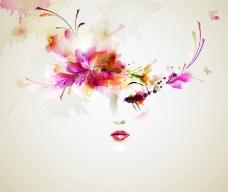 水墨鲜花美女图片图片