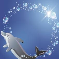 海豚气泡光圈背景