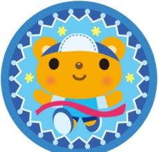 藍色圓形小熊動物邊框圖片