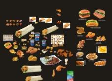 炸鸡汉堡鳕鱼堡七虾堡等素材大全图片