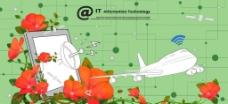 玫瑰花和飞机图片